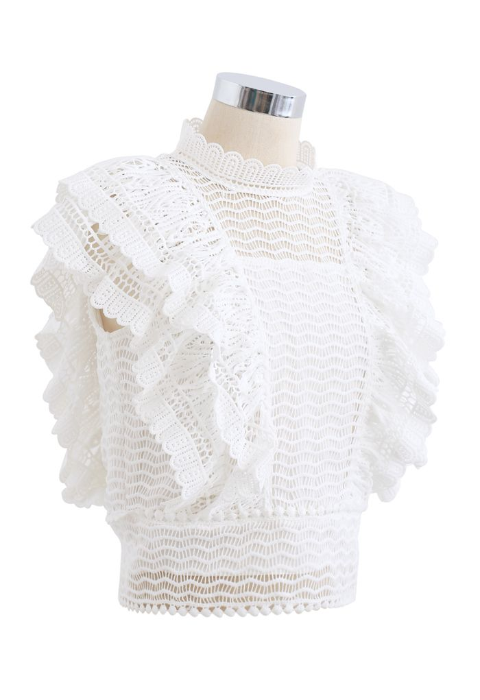 Tiered Ruffle Crochet Mock Neck Sleeveless Top in White
