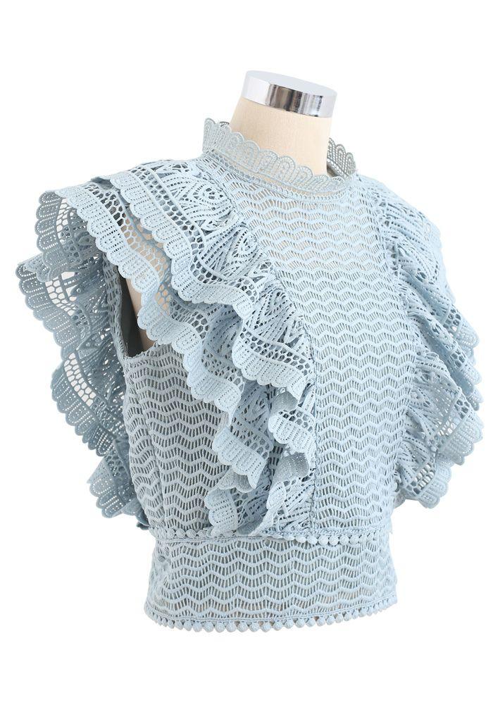 分層荷葉飾高領無袖編織上衣--青藍色