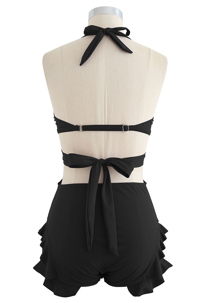 Halter Tied Ruffle Swimsuit with Mesh Kimono in Black