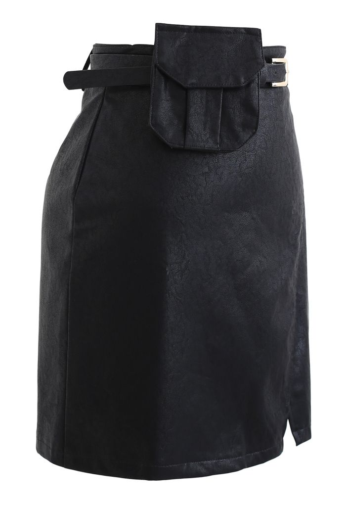 Belted Pocket Faux Leather Mini Bud Skirt in Black