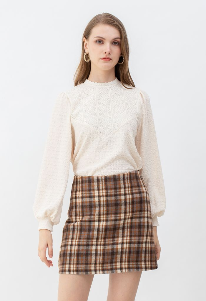 Plaid Wool-Blend Bud Skirt in Tan