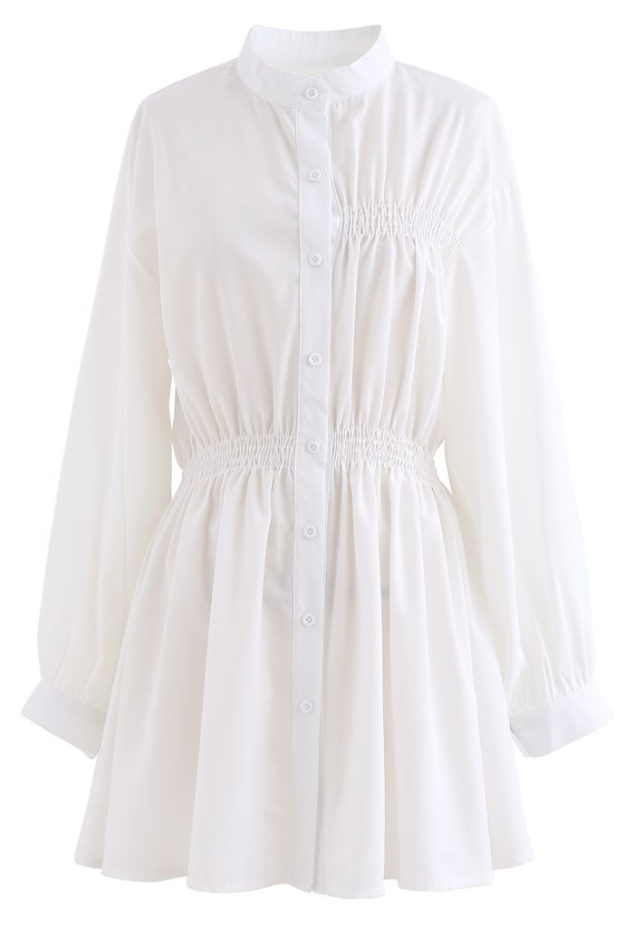 Asymmetric Shirred Button Down Shirt Dress in White