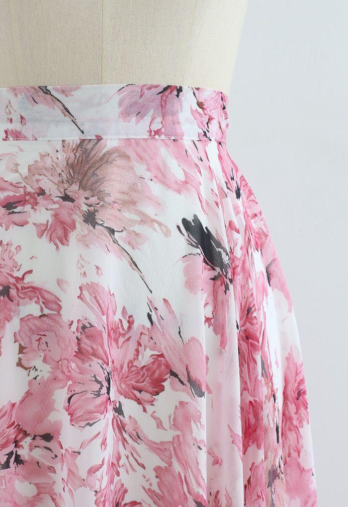 不對稱下擺花紋雪紡半身裙--粉色