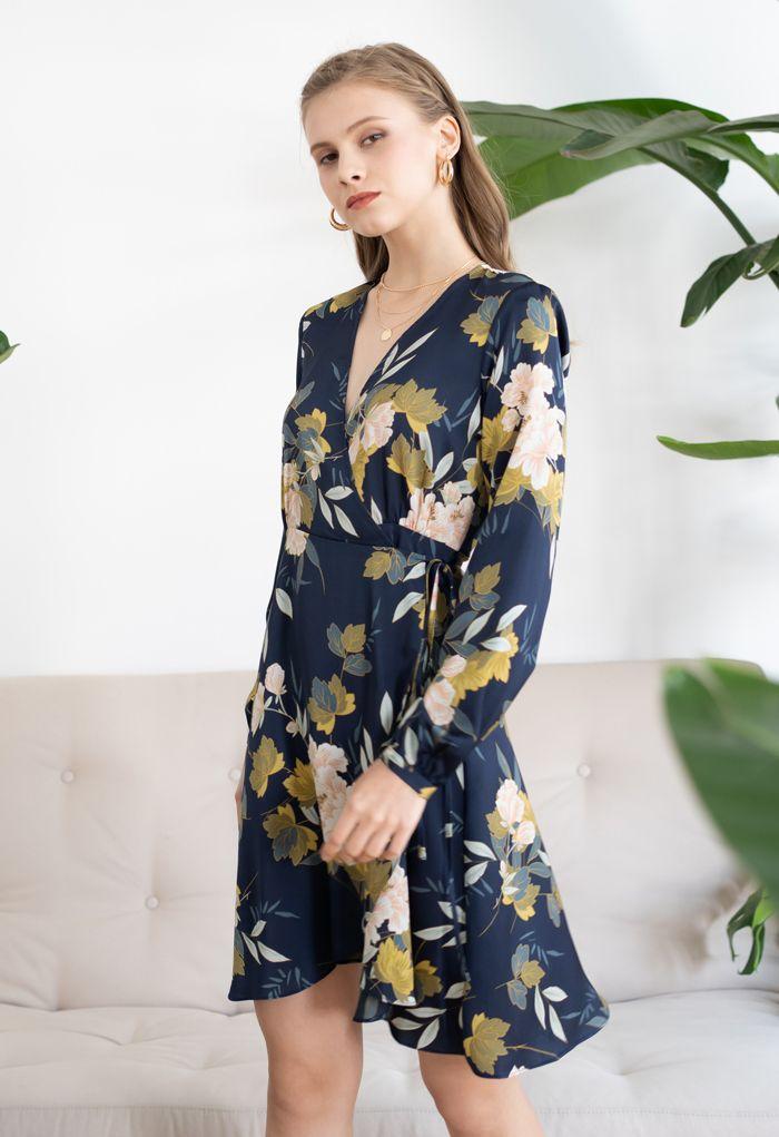 Navy Floral Printed Self-Tie Wrap Dress