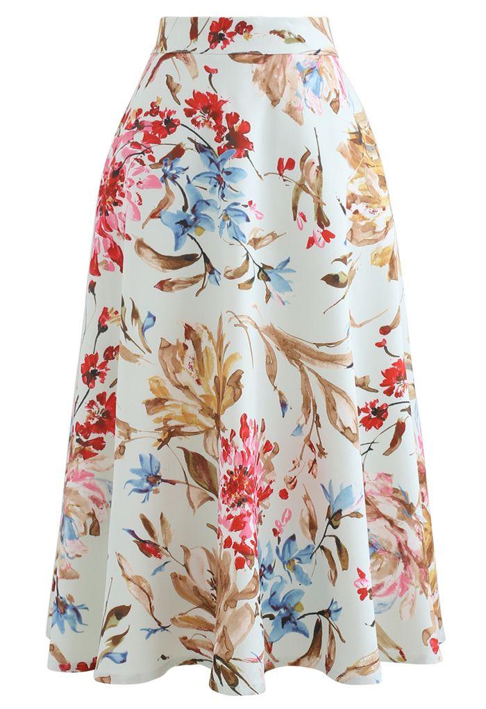 印花A字半身裙--粉色