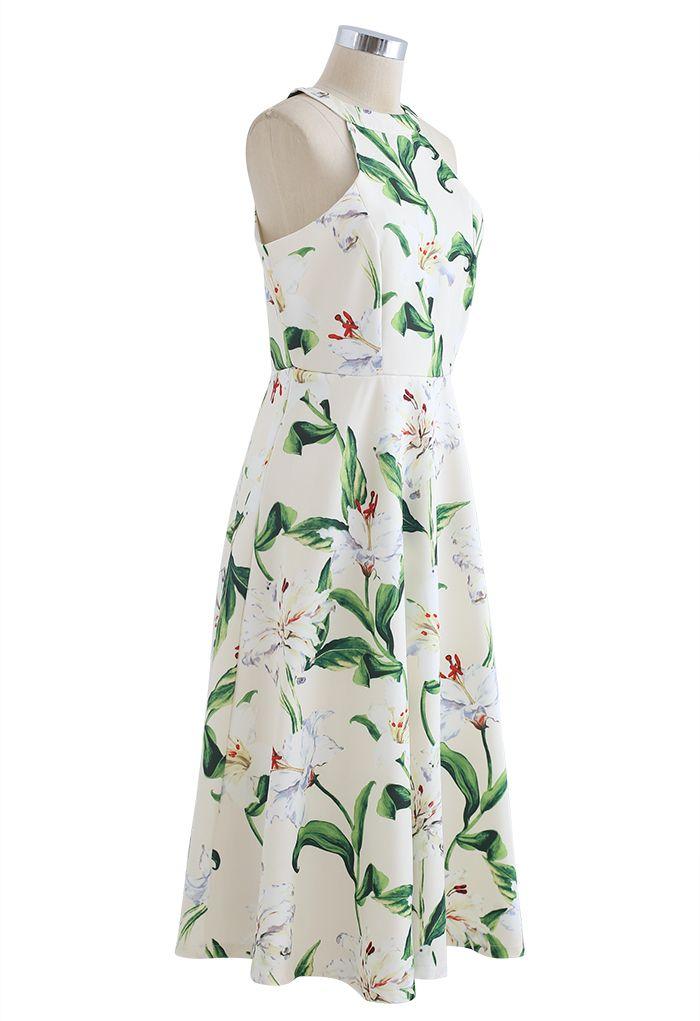 印花露肩長裙--綠色