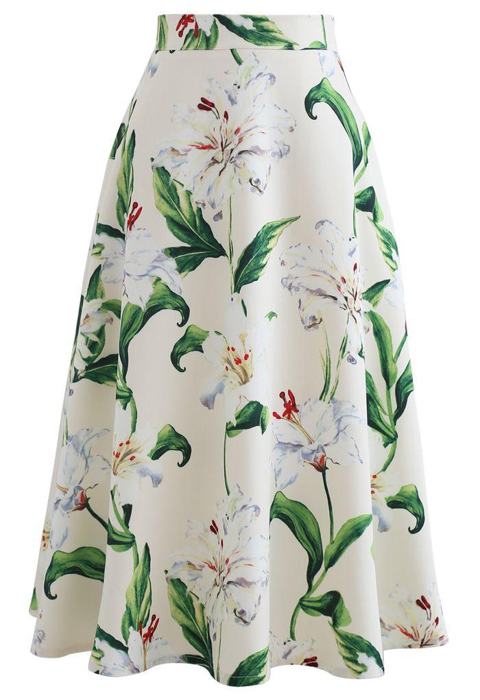 印花A字半身裙--綠色