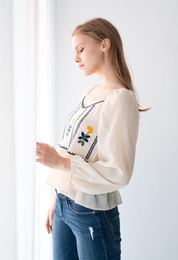 Embroidered Crochet Spliced Peplum Top