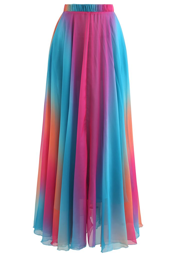 Tie Dye Chiffon Maxi Skirt in Blue