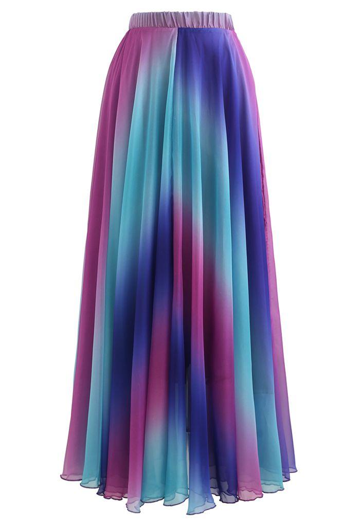 Tie Dye Chiffon Maxi Skirt in Purple