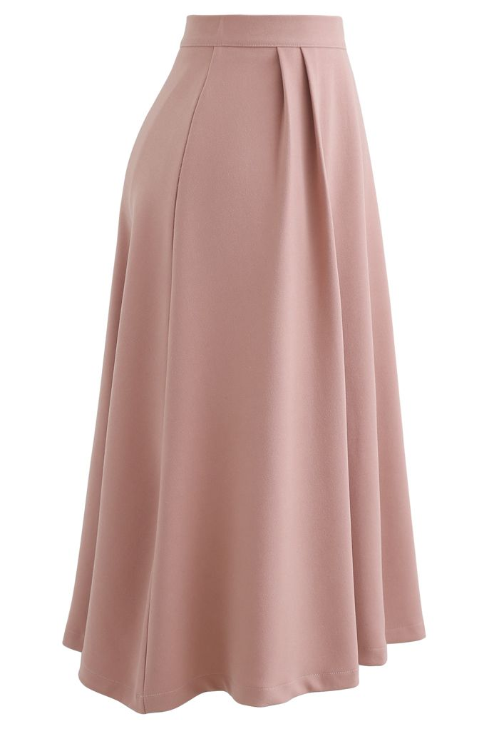 Pleated Flare Midi Skirt in Light Pink