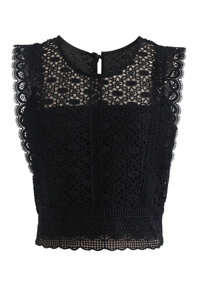 Crochet Lacey Sleeveless Crop Top in Black