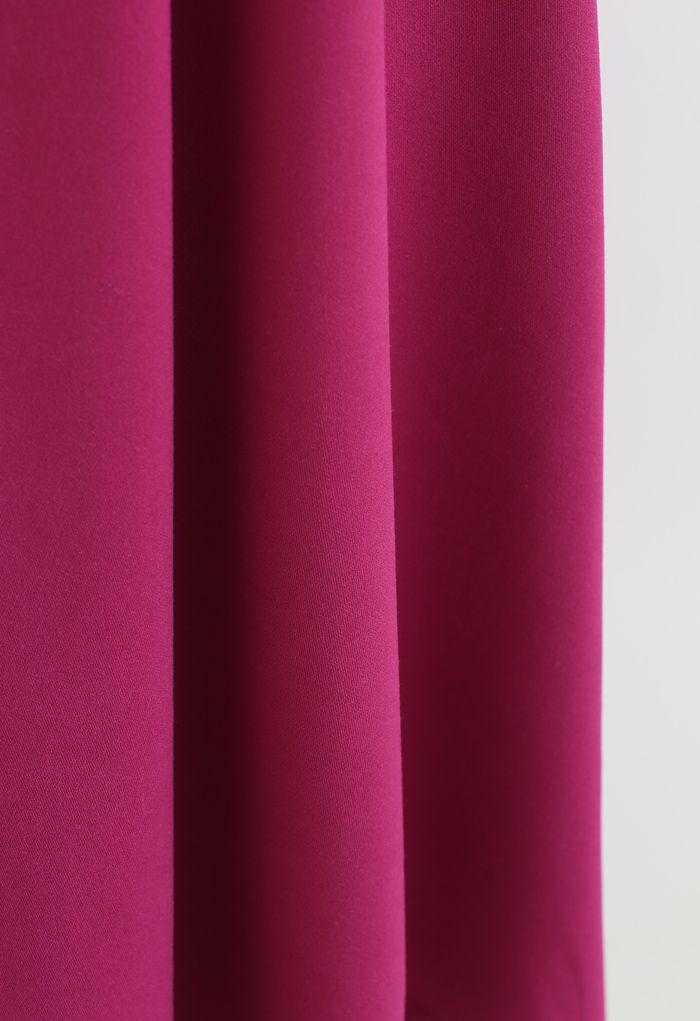 Pleated Flare Midi Skirt in Magenta