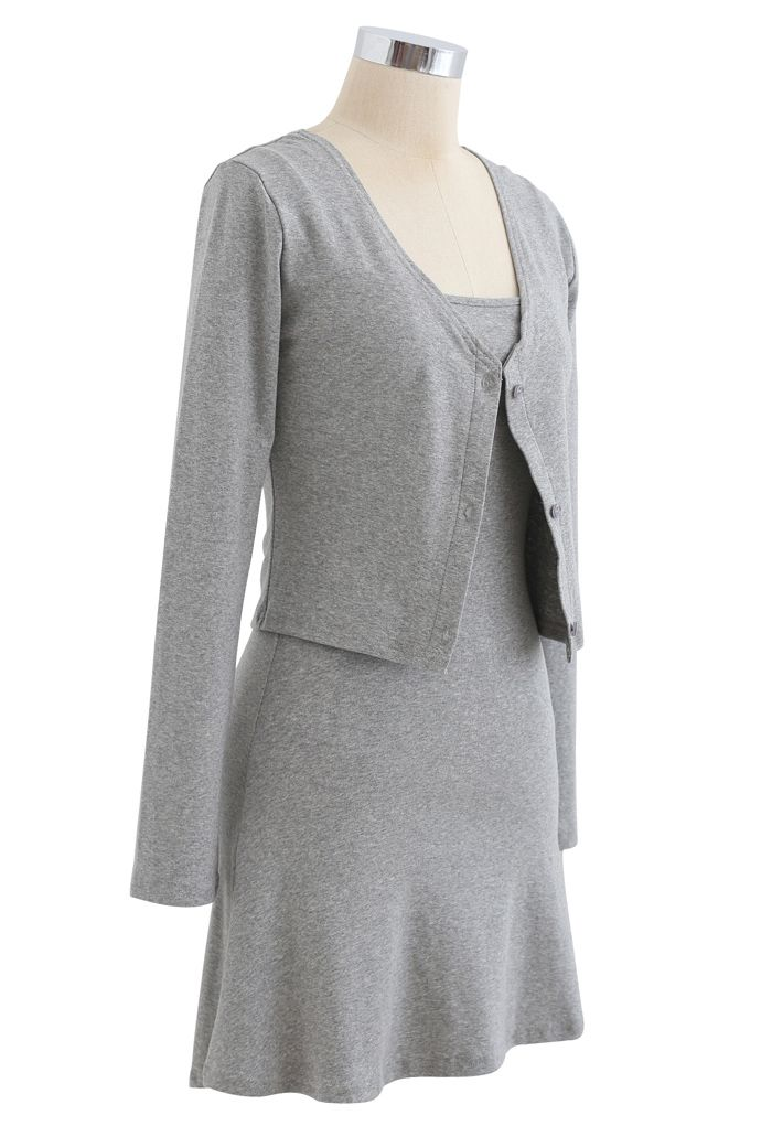 Cotton Blend V-Neck Button Twinset Dress in Grey