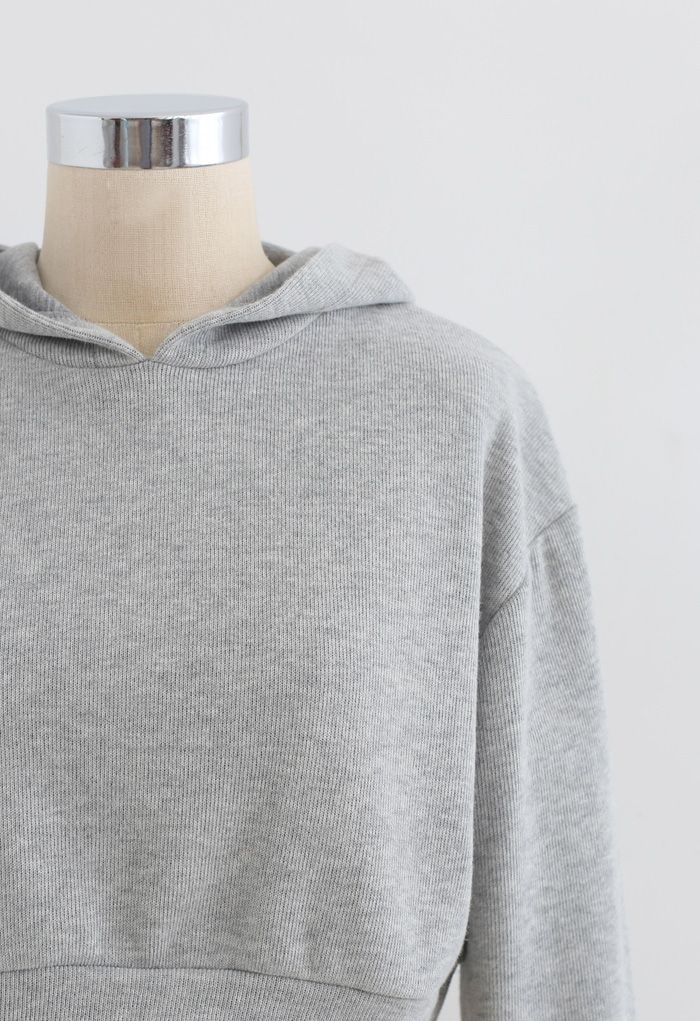 Cotton Blend Crop Hoodie and Shorts Set in Grey