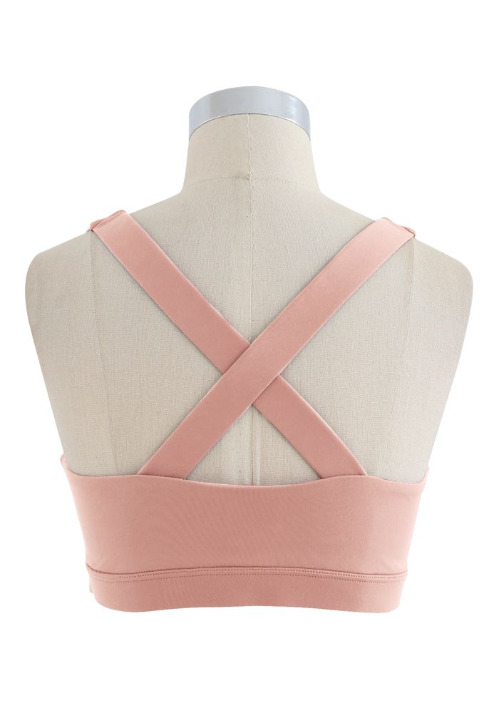O-Ring Cross Back Low-Impact Sports Bra in Pink