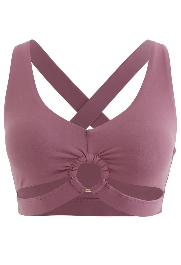 O-Ring Cross Back Low-Impact Sports Bra in Berry