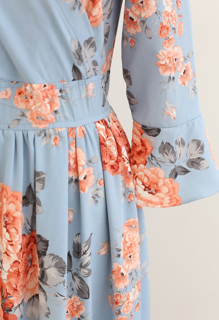 Pink Peony Wrap Ruffle Maxi Dress in Blue