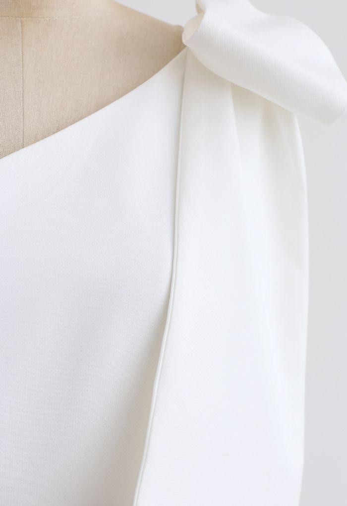 Bow Strap Oblique Slit Shift Dress in White