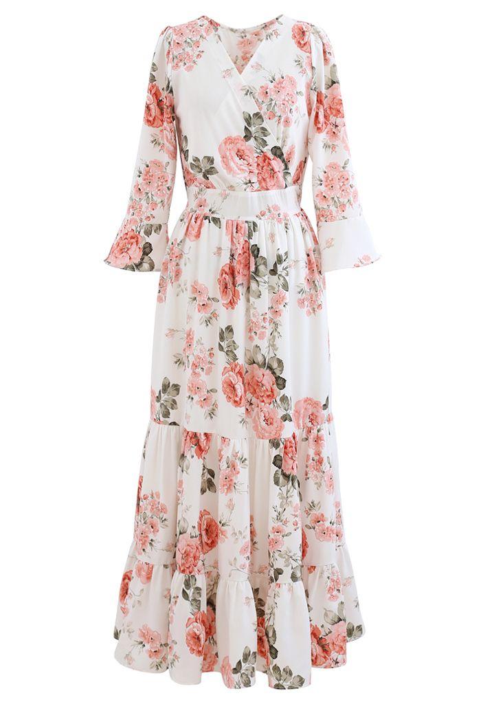 Pink Peony Wrap Ruffle Maxi Dress in White