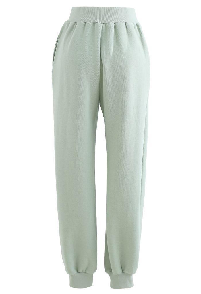 Zip Front Side Pocket Joggers in Mint