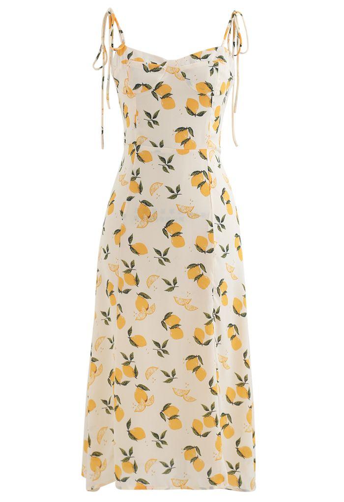 Lemon Print Sweetheart Self-Tie Cami Dress