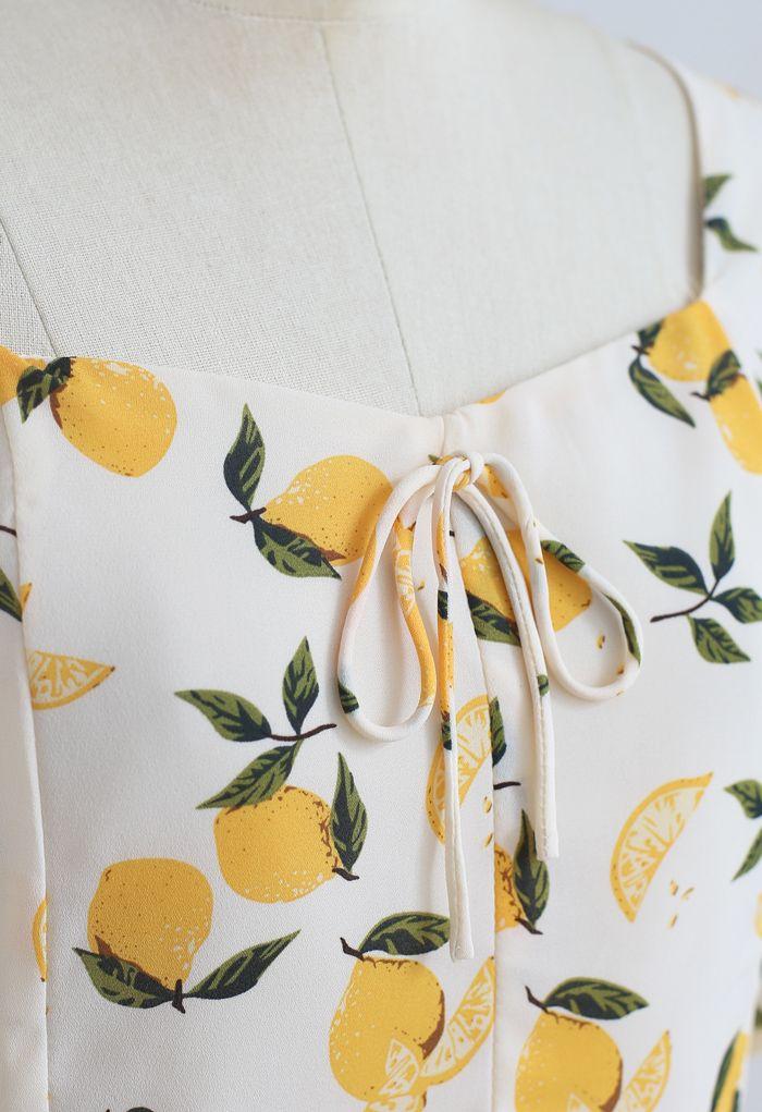 Lemon Print Square Neck Bowknot Crop Top