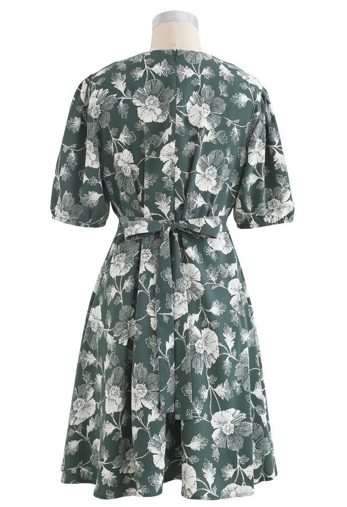 Dark Green Flower Tie Waist Wrap Dress