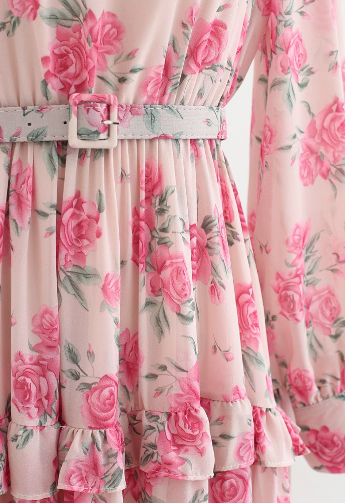 Belted Rose Print Chiffon Dress in Pink