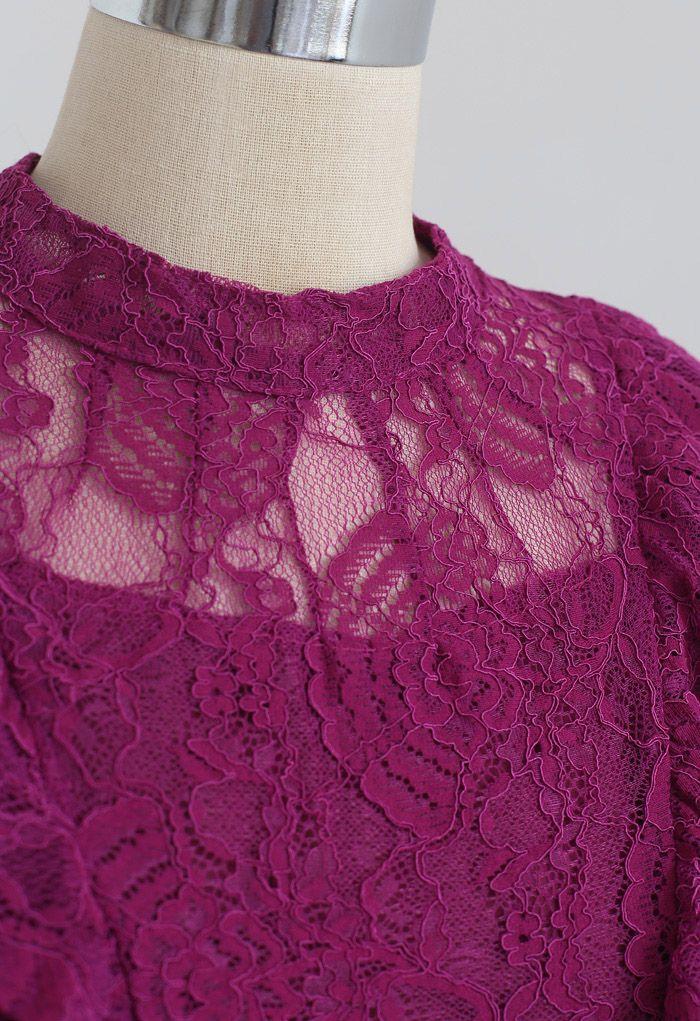 Tiered Ruffle Sleeveless Midi Lace Dress in Magenta