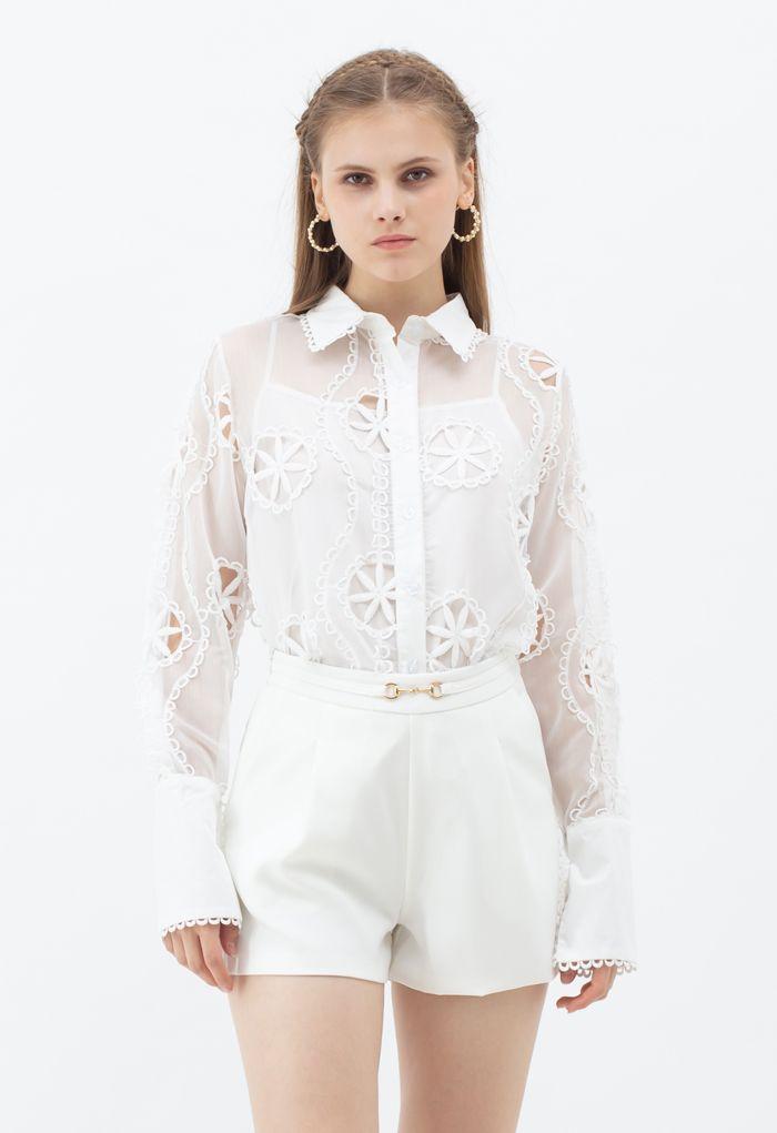Button Down Crochet Sheer Organza Shirt