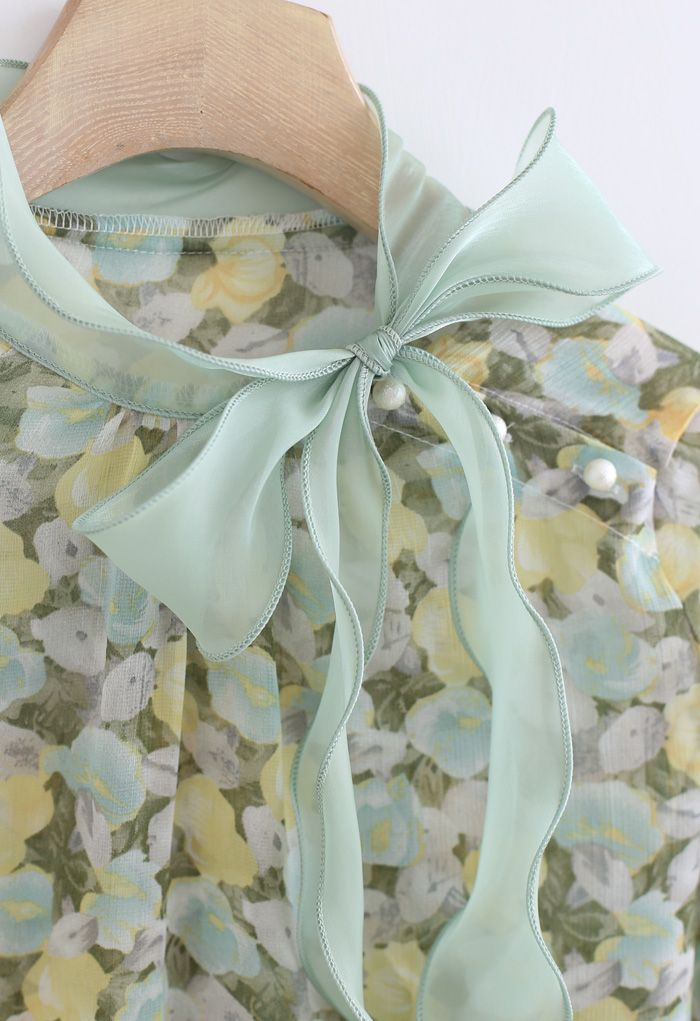 Rosebud Bowknot Glittery Semi-Sheer Top in Green
