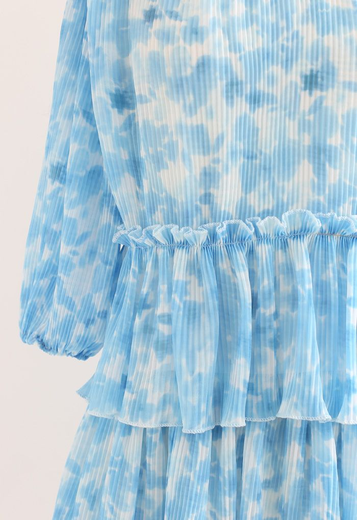 Pleated Tie-Dye Tiered Dolly Dress in Blue
