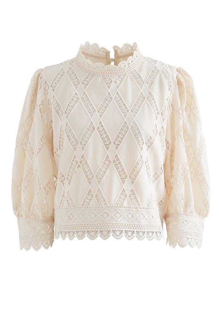 Crochet Inserted Puff Sleeves Crop Top in Cream