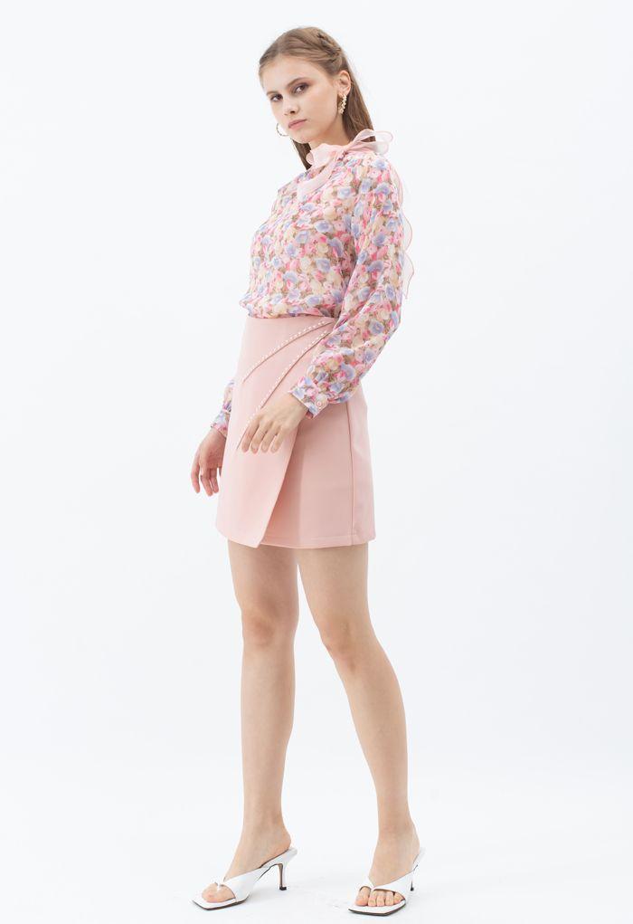 Rosebud Bowknot Glittery Semi-Sheer Top in Pink