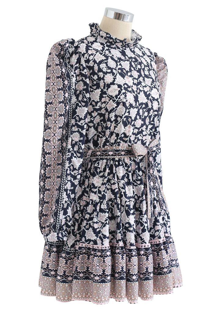Exotic Bloom Puff Shoulder Self-Tie Ruffle Dress in Navy