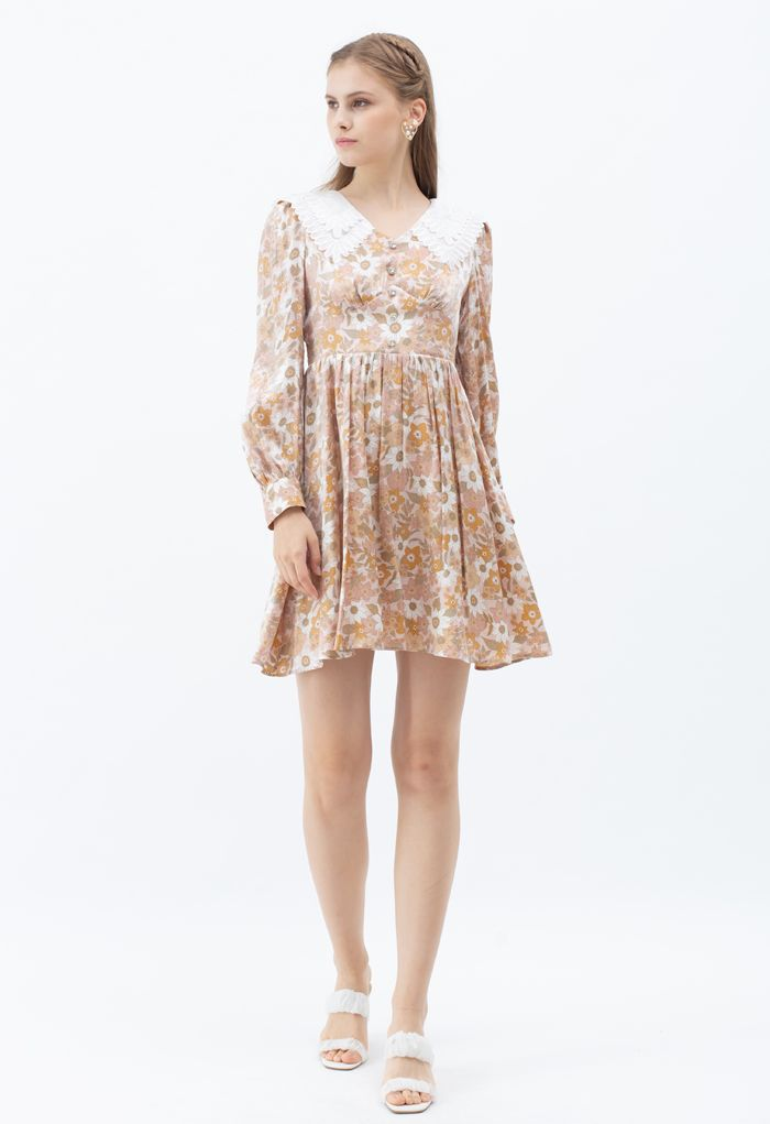 Luxury Bloom Tiered Collar Buttoned Dress