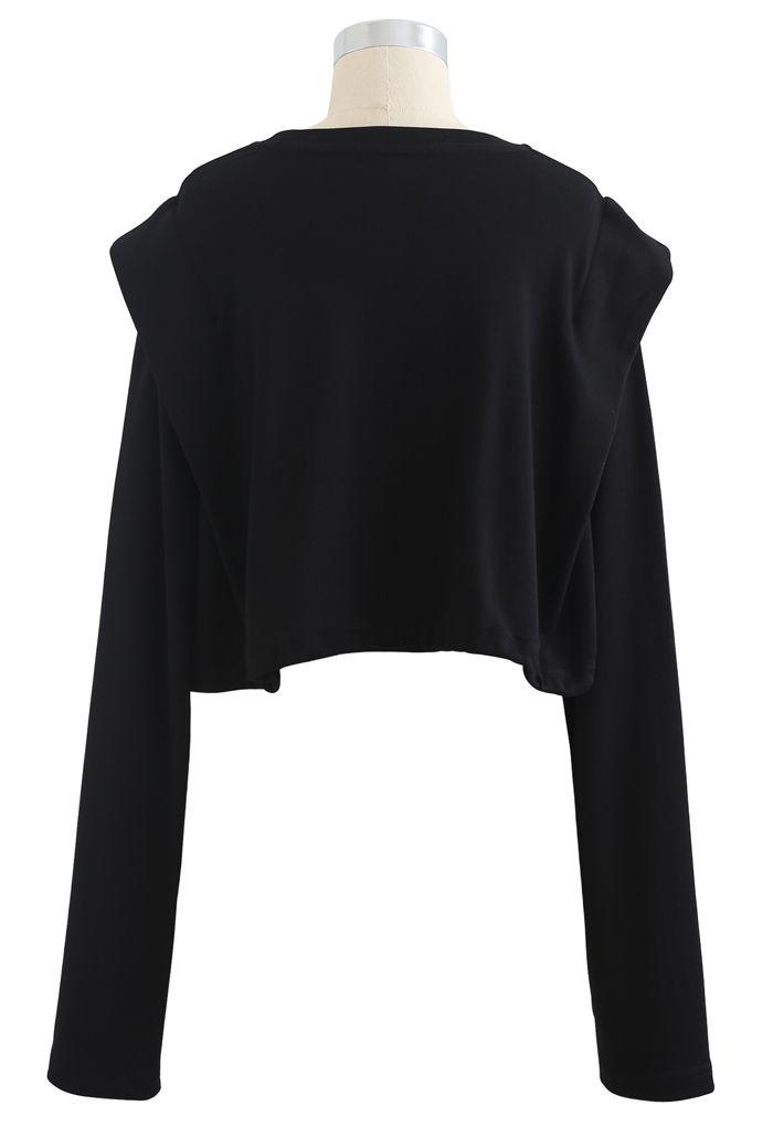 Adjustable Oversized Crop Sweatshirt in Black