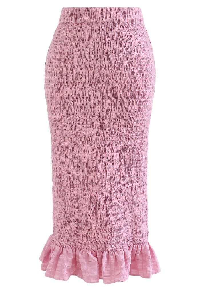 Frill Hem Full Shirring Pencil Skirt in Pink