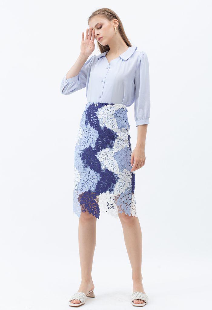 葉子狀編織鉛筆裙--藍色