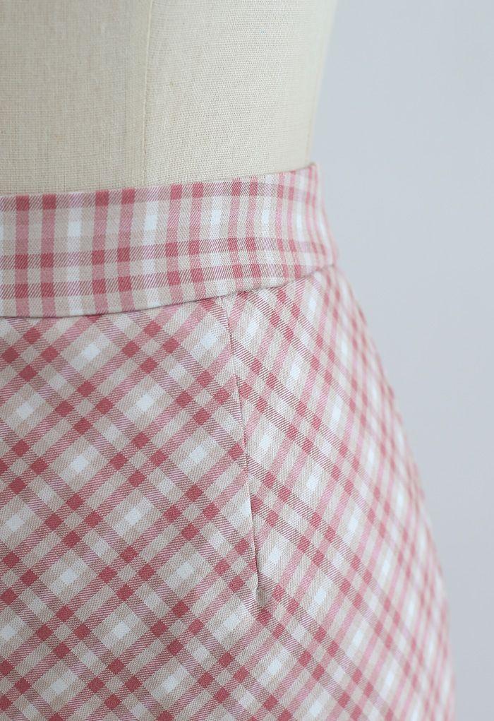 Gingham Slit Hem Pencil Skirt in Pink