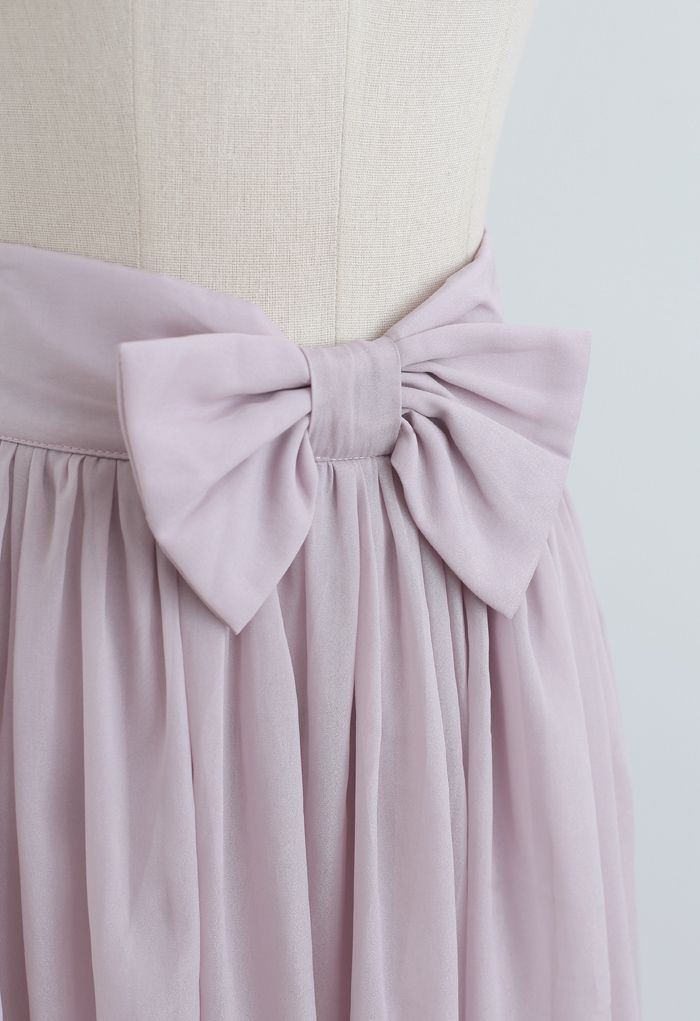 Bowknot Waist Chiffon Pleated Midi Skirt in Pink