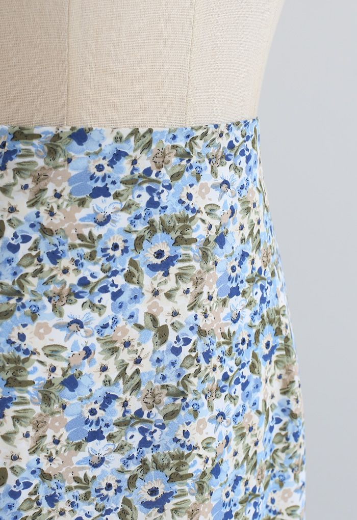 Ditsy Floral Chiffon Pencil Skirt in Blue
