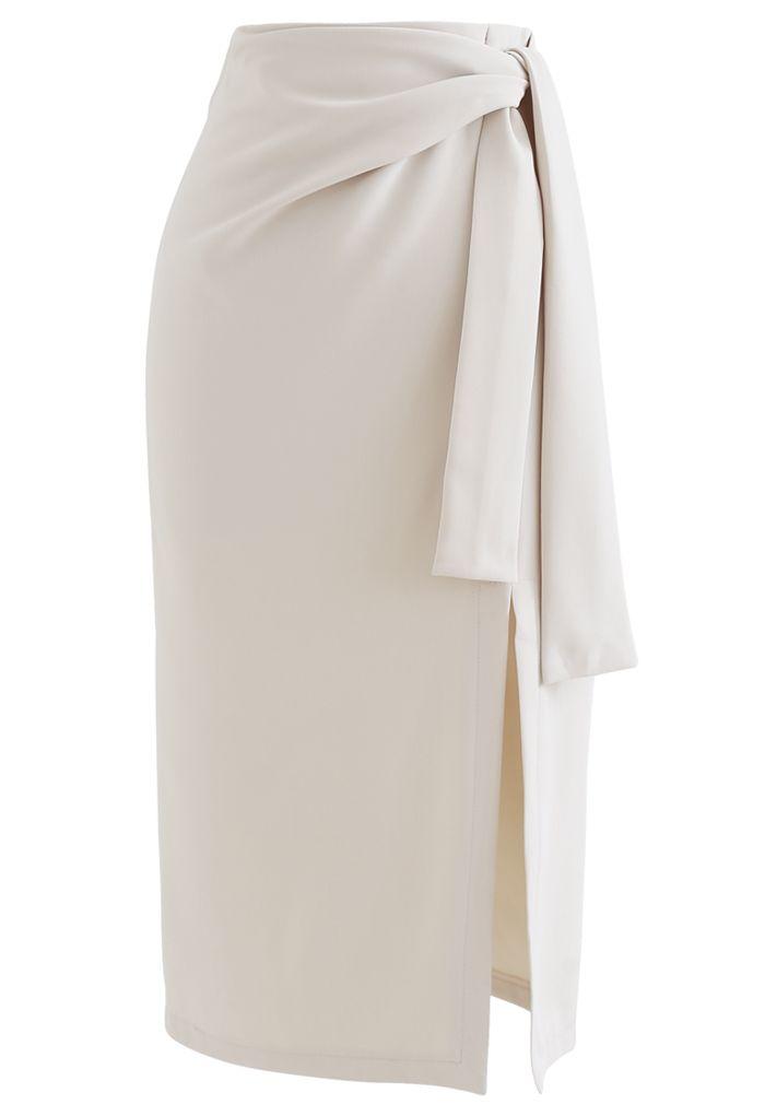 Tie Waist Front Split Pencil Skirt in Cream