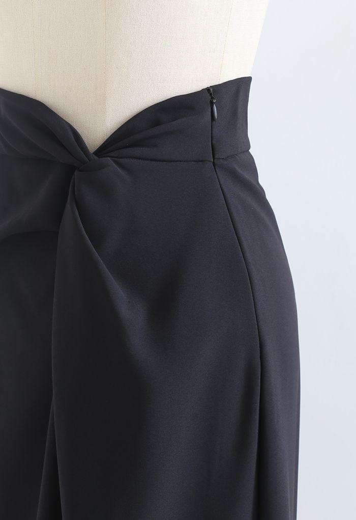 Knot Waist Slit Hem Pencil Skirt in Black