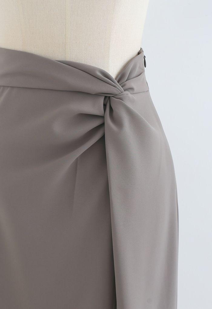 Knot Waist Slit Hem Pencil Skirt in Grey