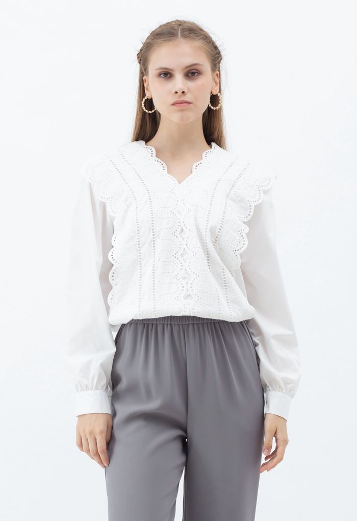V-Neck Scrolled Embroidery White Shirt