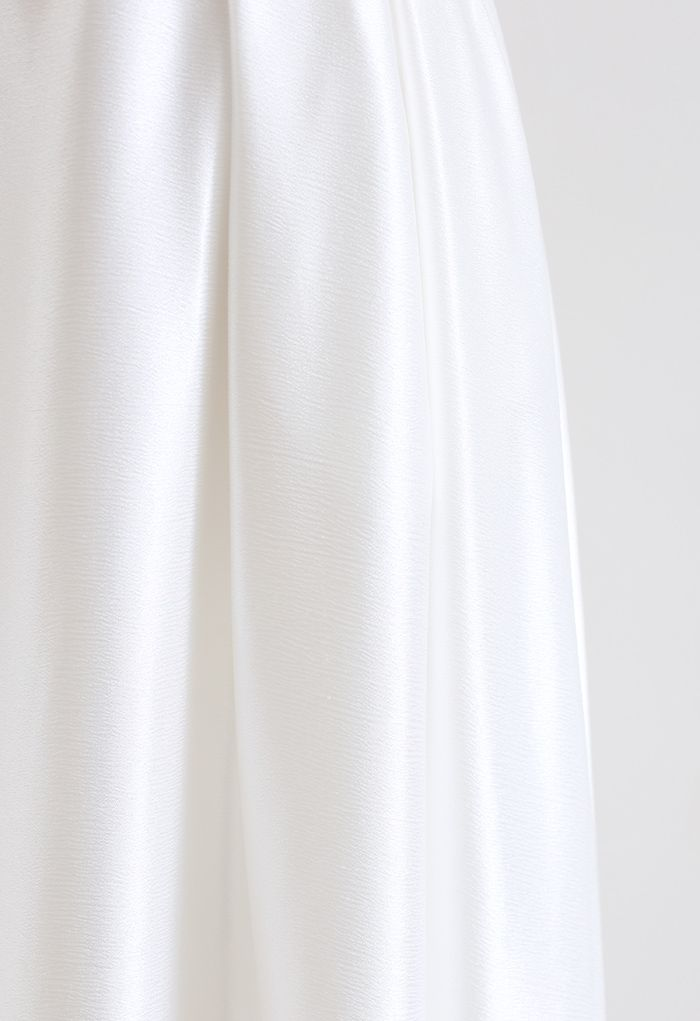 Belted Texture Flare Maxi Skirt in White