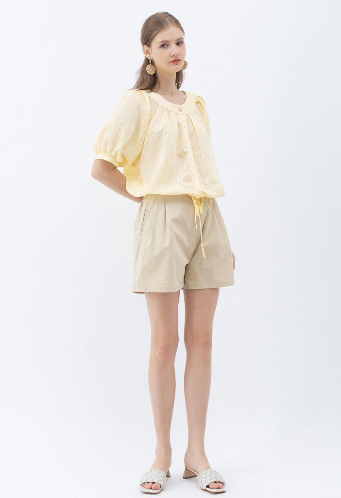 Striped Button Down Crop Shirt in Yellow