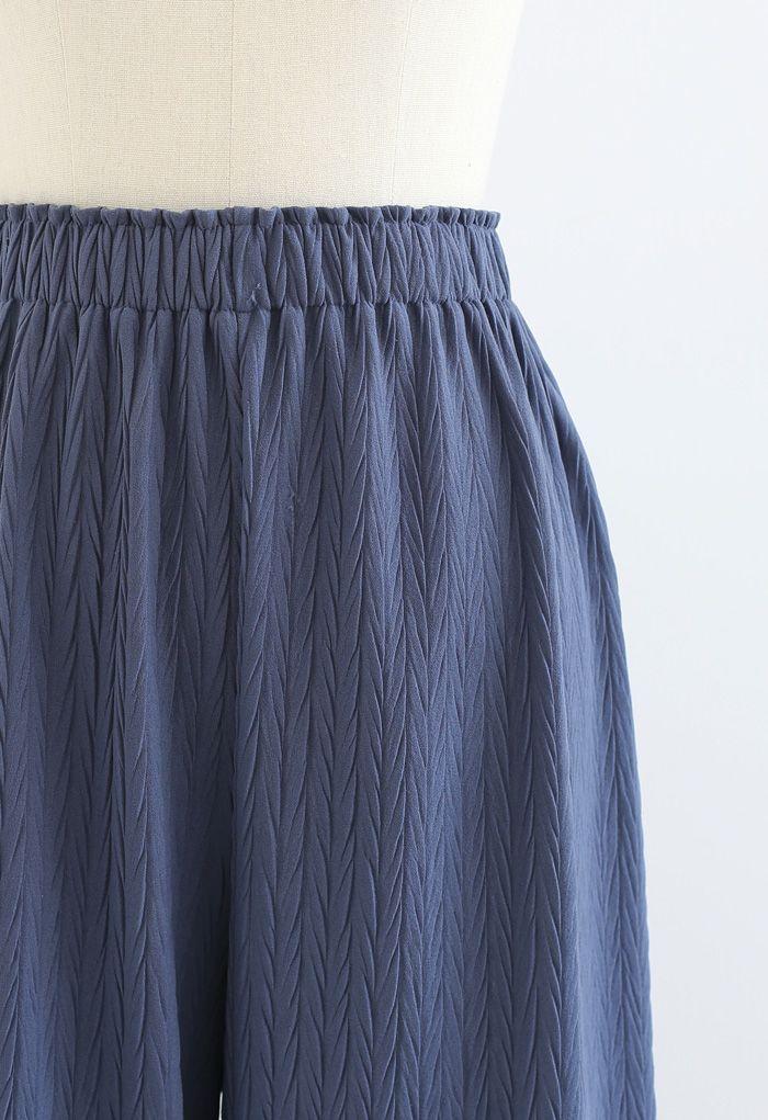 Z字形浮雕闊腿褲--藍色